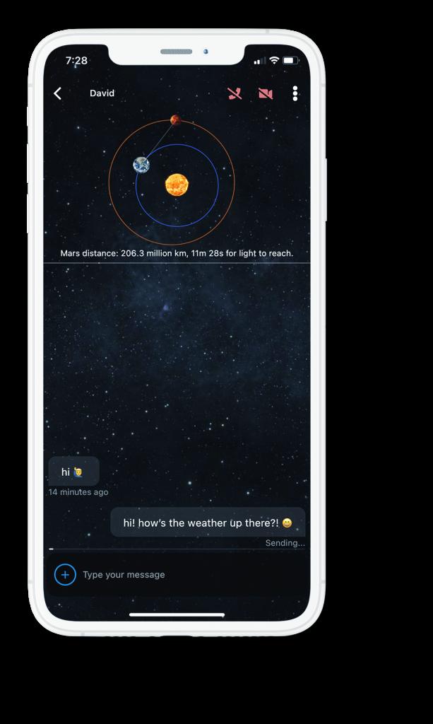 Marstalk showing messaging between Earth and Mars